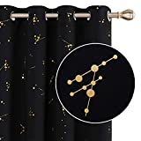 Deconovo Halloween Decorations Blackout Eyelet Curtains, Gold Constellation Printed Curtains, Thermal Insulated Curtains for Boys Bedroom, 46 x 72 Inch(Width x Length), Black, 2 panels