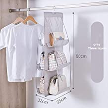 6 Pocket Hanging Handbag Organizer for Wardrobe Closet Transparent Storage Bag Door Wall Clear Sundry Shoe Bag with Hanger...
