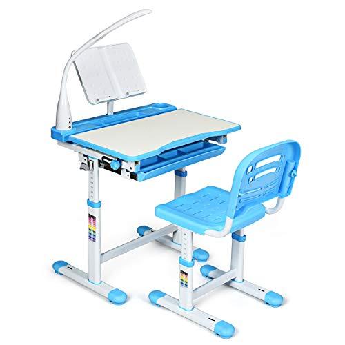 Giantex Kinderschreibtisch mit Stuhl, Kinderschreibtisch-Set mit Lampe & Buchständer, Kindertisch höhenverstellbar & neigungsverstellbar, Schülerschreibtisch Jugendschreibtisch Kinder (blau)