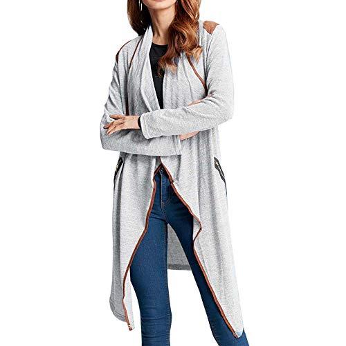 MEIbax Damen Strick Casual Langarmshirts Cardigan Asymmetrisch Jacke Outwear Plus Größe Mantel