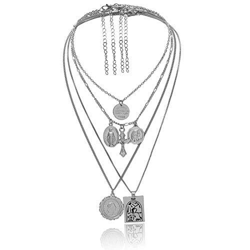 AmDxD Versilbert Damen Halskette Kreuz Geprägtes Porträt Anhänger Statementkette Freundschaftsketten Silber 40CM