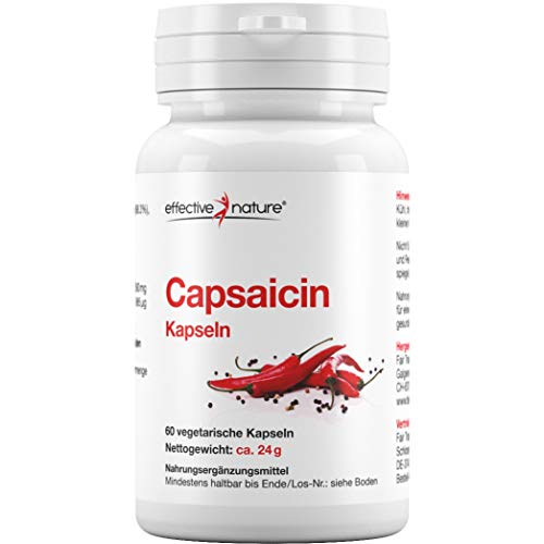 effective nature - Capsaicin aus Cayenne-Pfeffer - 60 vegane Kapseln - Konzentrierte Schärfe - Hochdosiert - 24000 Scoville Heat Units (SHU) - Perfekte Alternative zur Master-Cleanse-Diät