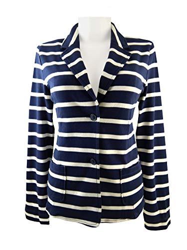 Tchibo TCM Damen Jersey Blazer Jacke Biobaumwolle Blau-weiß gestreift (42)
