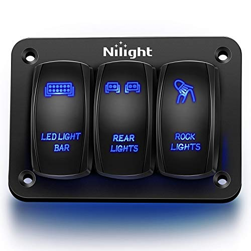 Nilight - 90105C 3 Gang Aluminum Rocker Switch Panel 5 Pin ON/Off Pre-Wired Toggle Switch Panel With Rocker Switch Holder 12/24V for Marine Boat Car ATV UTV,2 Years Warranty