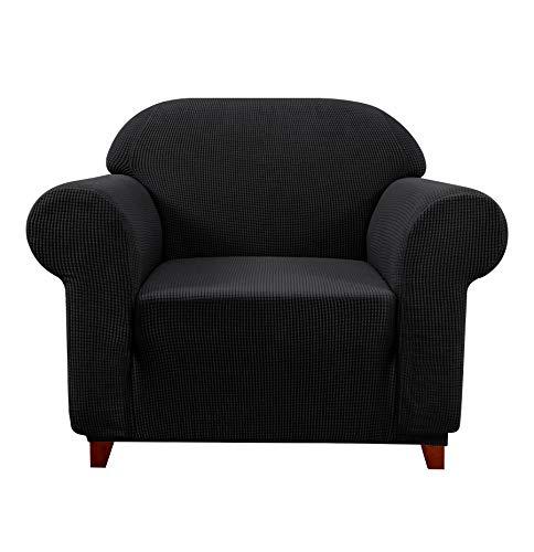 subrtex Spandex Sofabezug Stretch Couchbezug Sesselbezug Elastischer Antirutsch Sofahusse (1 Sitzer, Schwarz-1)