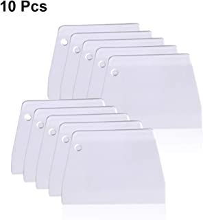 (10 pcs) Trapezoidal Dough Scrapers & Cutter, Bench Scrapers with Edge Flat, Flexible Bowl Scrapers, Multipurpose Food Scrappers for Baking Kitchen Pasta Pastry Pizz Cake