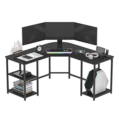 Earthsign L-Shaped Home Office Desk with Four Shelves Storage, Spacious Corner Computer Desk for Working from Home, Workstation, Gaming, 56.96 Inch, Round Corner, with Wood Top