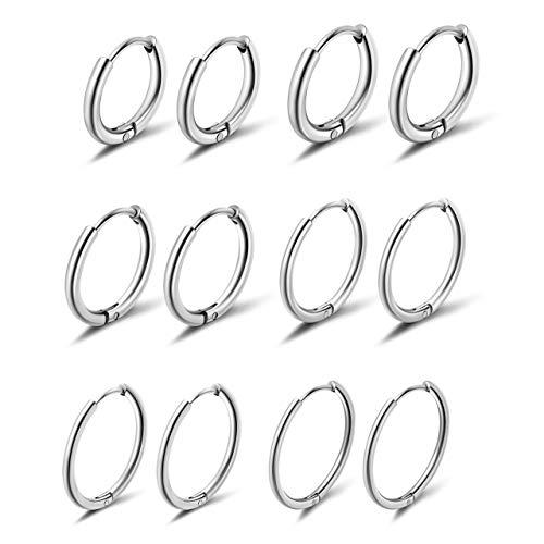 PiercingJak 6 Paare Chirurgenstahl Creolen Ohrringe Set Huggie Hoop Ring Kleine Klappcreolen 6-16mm (Silber)