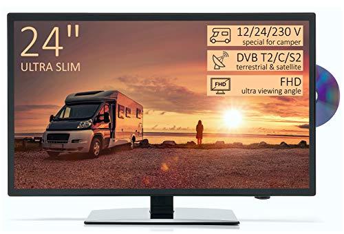 "TV Led Full HD 24"" per Camper ULTRA SLIM design - DVD/Usb/Ci+/Hdmi - 12/24/220 V - DVB-T2/S2/C - Compatibile CAM Tivusat - Attacco Vesa"