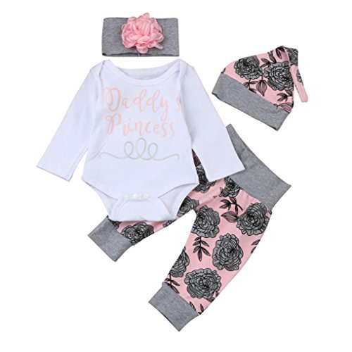 FNKDOR Baby Neugeborenen Mädchen Brief Strampler Tops Floral Hosen Mützen Stirnbänder Kleidung Set (03 Monate, Weiß)