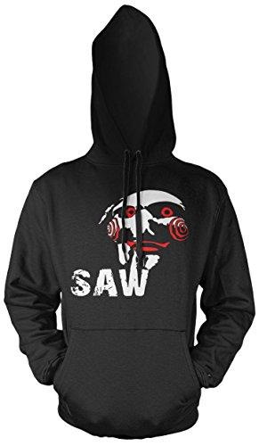 Uglyshirt89 Jigsaw Männer und Herren Kapuzenpullover | Halloween Saw Horror Geschenk Kostüm | M3 (S, Schwarz)