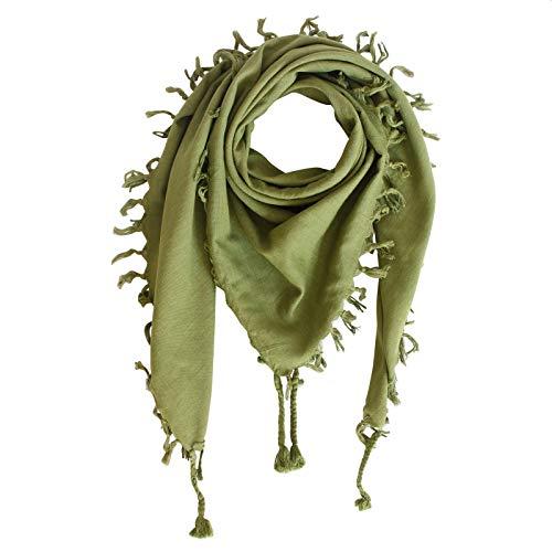 Superfreak Baumwolltuch - Tuch fein & dicht gewebt - mit Fransen - Schal - 100x100 cm - 100% Baumwolle Farbe: oliv-grün