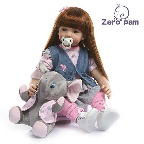Zero Pam 60CM Lebensechte Babypuppen, Silikon Babypuppen Wie Echt mit Vollgewichtete Körper, Handgefertigte süße Mädchen Puppen mit Kleidung (Blauer Weste Elefant)