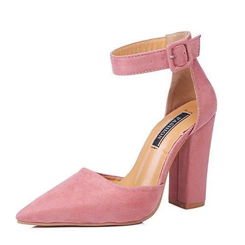 Minetom Donna Moda Sandali Tacco A Blocco Shoes Casuale Beach Eleganti Partito Scarpe Estate Testa A Punta Sandals Pink EU 41