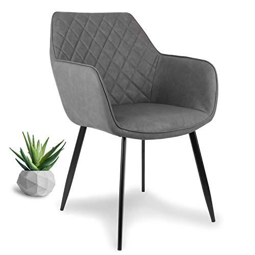 WONEA - Stuhl mit Armlehne Kunstleder in grau Schwarze Beine Esszimmerstuhl, Armlehnenstuhl...
