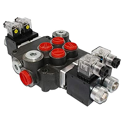 Hydraulic Monoblock Solenoid Directional Control Valve, Double Acting, 2 Spool, 21 GPM, 12V DC by Summit Hydraulics