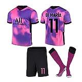 Desk Camiseta de fútbol Paris Away # 7#10 Conjunto de Camisetas de fútbol Rosa Morado Conjunto de Camiseta y pantalón Corto de Entrenamiento Deportivo para Adultos y niños