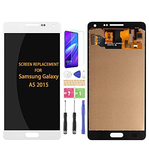 Samsung Galaxy A5 2015 A500 A500F A500M A500FU - Kit de montaje de cristal para digitalizador de pantalla LCD, película templada, pegamento y herramientas (blanco)