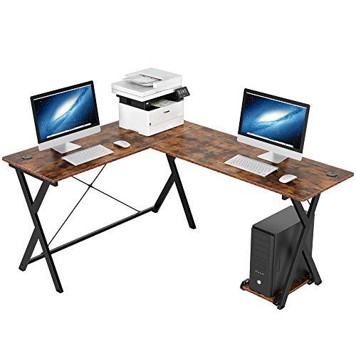 Homfa Computertisch Eckschreibtisch L-förmiger Schreibtisch PC-Tisch Gaming Tisch Ecktisch Arbeitstisch Bürotisch Holz Metall Vintage Schwarz 158x120x72cm