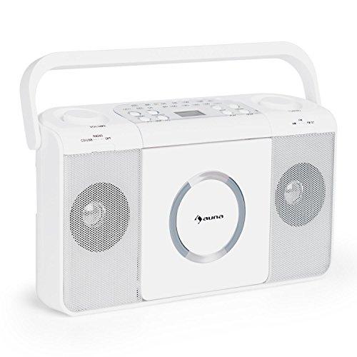 auna Boomtown Stereoanlage und CD-Radio - Boombox, CD-Player, UKW-Radiotuner, integrierte 2 x 1,5 Watt RMS Lautsprecher, AUX-Eingang, MP3-fähigen USB-Port, Netz- und Batterie-Betrieb, weiß
