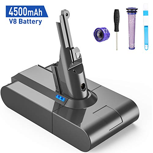 FLYLINKTECH 4500mAh 21.6V V8 Battery Replacement for Dyson V8 SV10 Li-ion Battery Absolute Cordless Handhold Vacuum V8 Fluffy V8 Animal SV10 Cord-Free Vacuum Handheld Cleaner with Filters