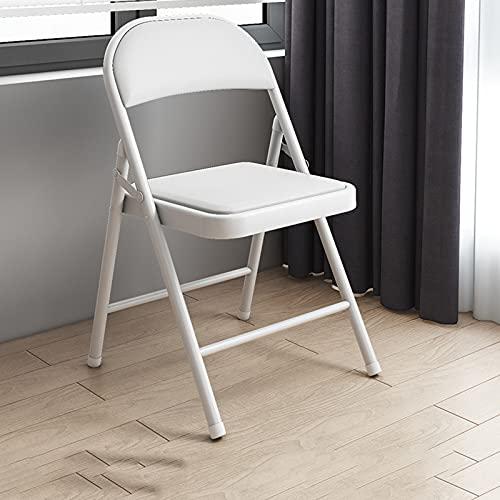 ZLL Silla Plegable De Oficina para 4 Piezas, Tapizada En Cuero Artificial, Capacidad De 507 Libras, Negro/Blanco (Color : White)