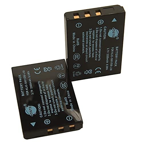 DSTE KLIC-5001 - Batería de repuesto para Kodak EasyShare P880, Z760, DX6490, P850, DX7440, Z730, Zoom Z730, P712, Sanyo Xacti DMX-WH1, VPC-HD2000 y DMX-HD1010 (2 unidades) Cámara Sanyo DBB - 50.
