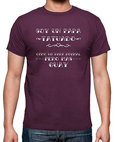 latostadora - Camiseta Papa Tatuado para Hombre Burdeos XL