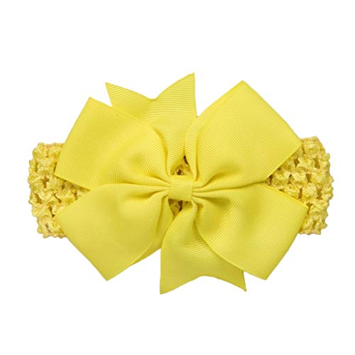 Diadema con lazo para bebé, de color brillante, de algodón suave, elástico para la cabeza, para recién nacido, tocado, accesorios de fotografía Amarillo amarillo Talla única