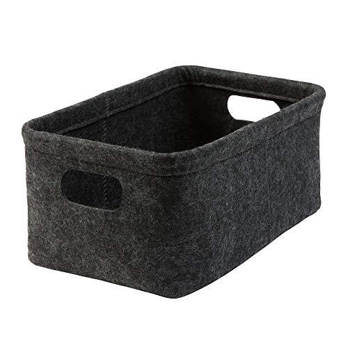 luxdag Aufbewahrungskorb 'MEDIUM (quer)' aus Filz, dunkelgrau (Farbe wählbar) | Korb für Toilettenpapier (2 Rollen), Handtücher, Zeitungen UVM.