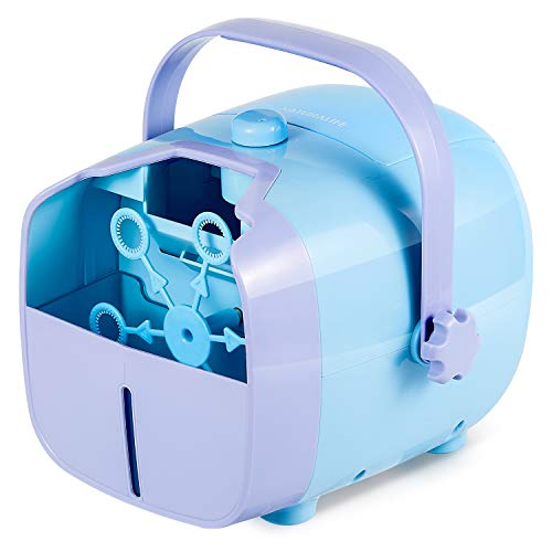 NATURALIFE Automatic Bubble Machine for Kids, Powered by Both Plug-in or Batteries, Outdoor or Indoor Use, Two Bubble Blowing Speed Levels
