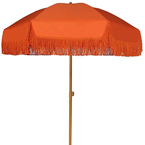 AMMSUN 7ft Patio Umbrella with Fringe Outdoor Yard Umbrella UPF50+ Wood Color Steel Pole and Steel Ribs Push Button Tilt - Orange