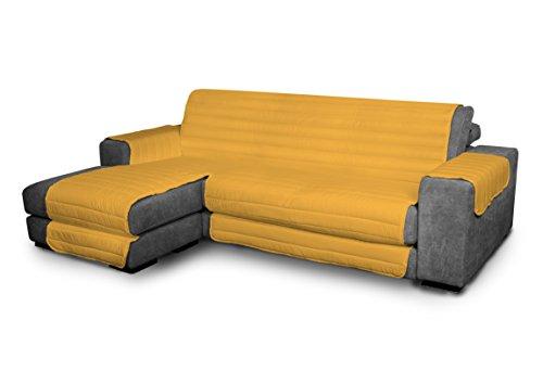 Italian Bed Linen Elegant - Funda Protectora para Sofá Chaise Longue Izquierdo, Microfibra, Amarillo, Medida del asiento 290 cm + cubre brazos laterales