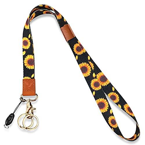 Yiflin Black Sunflower Lanyard for Keys, Keychain, Wallet, Glasses,Id Holder, Cell Phone, Badge Holder, for Men and Women, Teacher, Kids