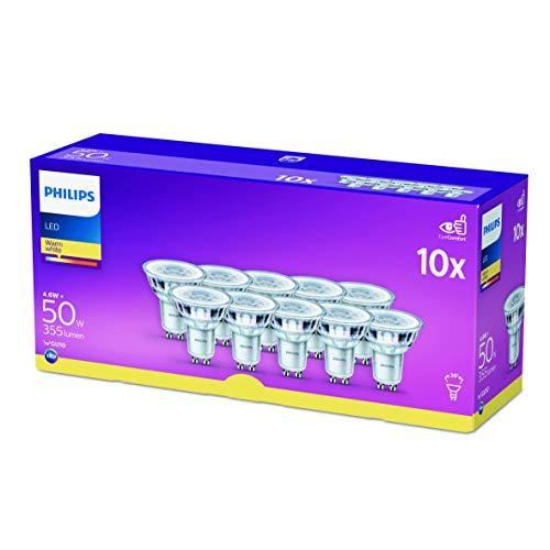 Philips Faretto LED, 10 Pezzi, Equivalente a 50W, Attacco GU10, Luce Bianca Calda, non Dimmerabile