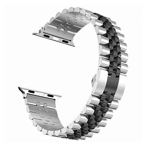 WSGGFA Correa de Acero Inoxidable for Apple Venda de Reloj de 6 SE 5 4 3 40 mm 44 mm 38 mm 42 mm de Metal de reemplazo Pulsera Venda del Deporte de IWatch for 6 5 3