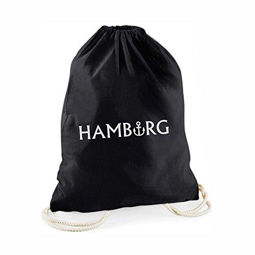 Statement-Turnbeutel Hamburg - Gym-Bag Rucksack Hipster Beutel mit Spruch Geschenk Norddeutsch Stadt Städte