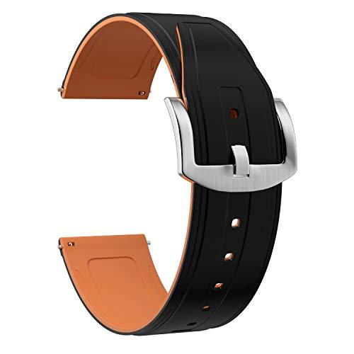 OLLREAR Silicona Correa Reloj Recambios Correa Relojes Caucho Suave - 6 Colors & 4 Sizes - 6 Colors & 4 Sizes - 20mm, 22mm, 24mm, 26mm (20mm, Naranja)