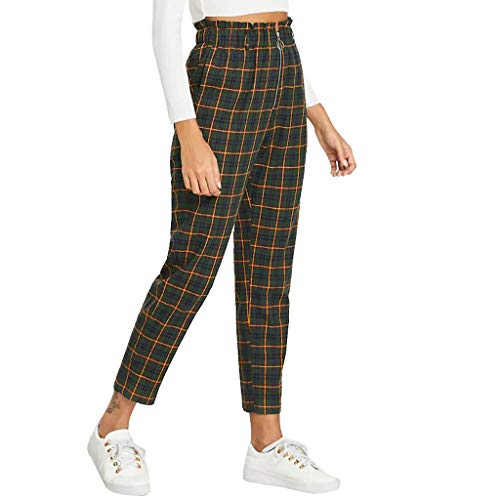 Pantalones con Cremallera a Cuadros SUNNSEAN Pantalones de Cintura Alta para Mujer Pantalones Casuales Slim Fit Pantalones Moda Pantalones Largos Elegantes