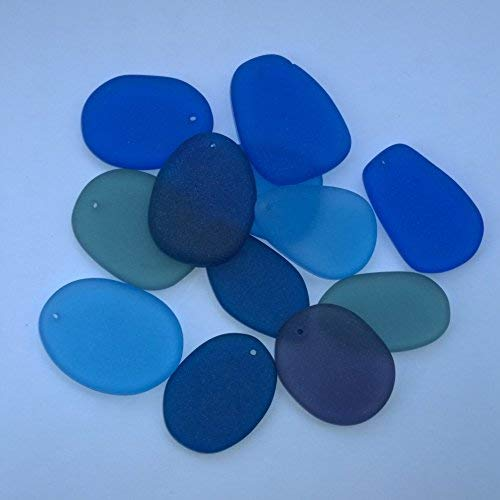 "12 Pcs 1"" Blues Beach Sea Glass Beads Free Form Flat Drilled for Jewelry Charm Pendant Crafted Blue Collection,Plus Free Gift Package JCT ECO"