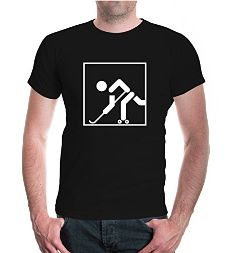 buXsbaum® Herren Unisex Kurzarm T-Shirt Bedruckt Rollhockey-Piktogramm   Rollschuhe Inlinehockey Skaterhockey   L Black-White Schwarz