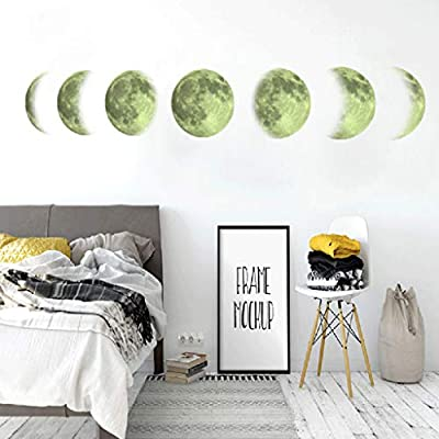 AGUIguo Fluorescent Moon Phase Diagram Creative Moon Home Decoration Wall Sticker, Removable Mural Decal Art Home Decor Painting Supplies
