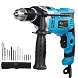 850W Hammer Drill, Tilswall Impact Drill 3000RPM Hand Electric Cored Percussion Drill with Drill Bits Set, Variable-Speed Trigger, 360° Rotating Handle for Brick, Wood, Steel, Concrete, Masonry