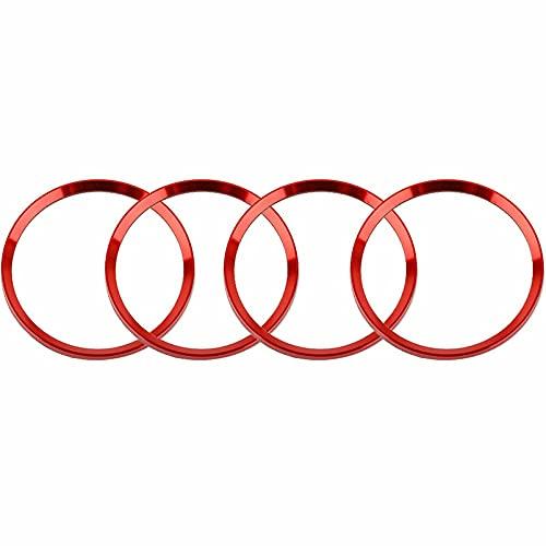 Tapas De Cubo De Centro De Rueda 4 piezas de aleación de aluminio rojo aleación de la rueda de la rueda de la rueda del centro de la tapa del centro de la cubierta de los anillos de la cubierta compat