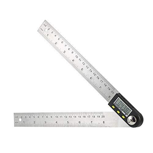 Goniometro digitale con righello professionale 200mm,righello angolare goniometro inclinometro digitale 360 gradi Acciaio inossidabile,Angolo digitale per falegname/bici/auto con LCD