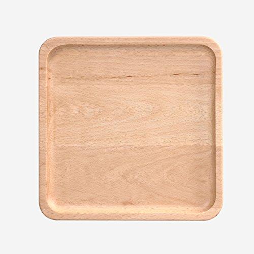 TGDPSTORE Vintage Buche Holz Frühstückstasse Serviertabletts, Quadratische Japaner Kreativ Brot Bett tablett K?se-Brett Mit Snack Milch Hamburger Frites-A 23x23cm(9x9inch)