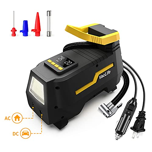 VacLife Tire Inflator for Home (110V) and Car (12V), AC/DC Portable Air Compressor for Car Tires, Bicycles and Other Inflatables, Digital Air Pump with LED Light & Long Power Cords (VL708)