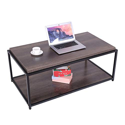 Erwazi Coffee Table Console Table, Sofa/Entry Table for Living Room Industrial Desk Table Set, 2-Tier Tea Table with Shelf TV Stand Table, Accent Furniture for Home Office