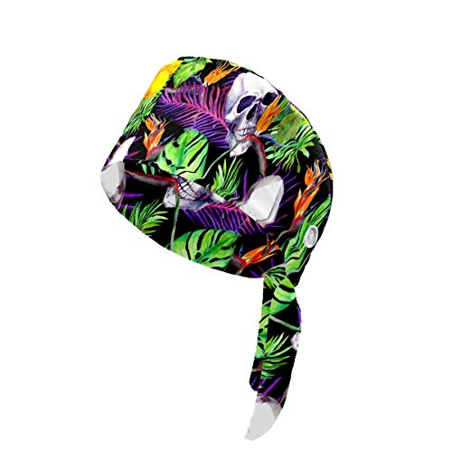 YXYP Printed Working Cap Watercolor Skull Tropical Plant Cotton Working Cap with Button and Sweatband Adjustable Tie Back Hat for Women Men