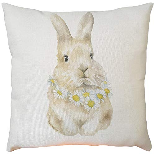 Celucke Easter Day Cushion Covers, Rabbit Bunnies Pattern Throw Pillow Covers Bedroom Cushions Square Unique Decorative Pillows Cases for Sofa Living Room